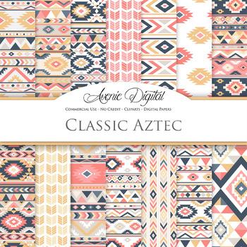 Classic aztec Digital Paper arrows tribal patterns scrapbo