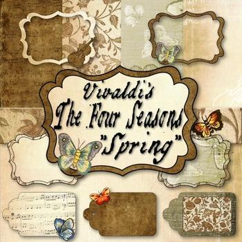 Vintage Music Clip Art Based on Vivaldi's The Four Seasons: Spring