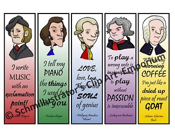 Classical Composers Bookmarks