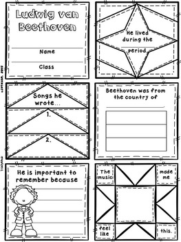 Classical Composers Quilt Worksheets