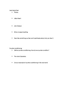 Classical Conditioning Notes Handout