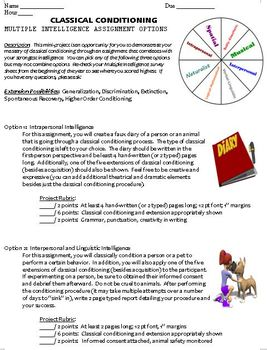 Classical Conditioning Project - Multiple Intelligences