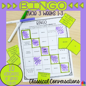 Classical Conversations BINGO Review Game [Cycle 3 Weeks 1-3]