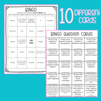 Classical Conversations BINGO Review Game [Cycle 3 Weeks 4-6]