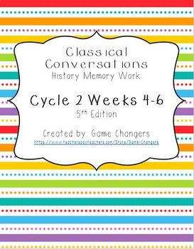 Classical Conversations Cycle 2 Weeks 4-6 History Memory Work 5th Edition