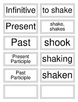 Classical Conversations Cycle 3 English (Week 16) Irregular Verb Flashcards