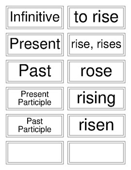 Classical Conversations Cycle 3 English (Weeks 5-17) Irregular Verb Flashcards