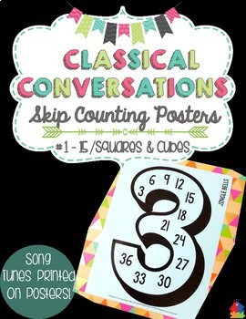 Classical Conversations Skip Counting Posters [#1-15, Squares, Cubes]