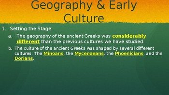 Classical Greece Geography & Culture PowerPoint Lecture