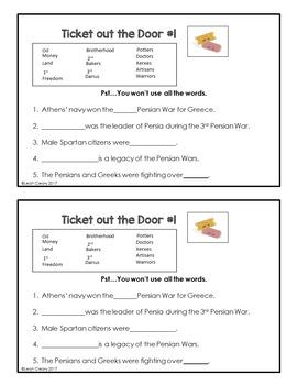 Classical Greece Lesson Plans, PowerPoint, Cloze Notes, and Exit Tickets