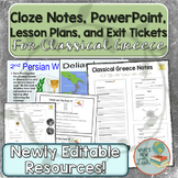 Classical Greece Lesson Plans, PowerPoint, Cloze Notes, an