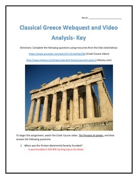Classical Greece- Webquest and Video Analysis with Key