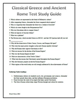 Classical Greece and Ancient Rome Editable Test and Study Guide