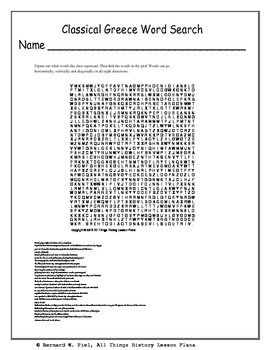 Classical Greece Review Word Search