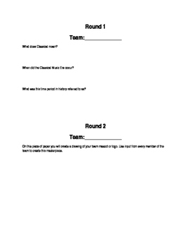 Classical Music Era: Olympic Review Answer Sheets
