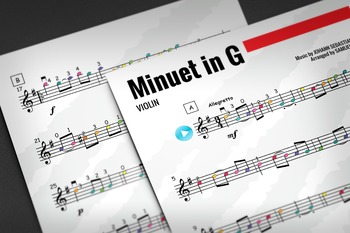 VIOLIN SHEET MUSIC: Minuet in G - Johann Sebastian Bach (Classical Music)