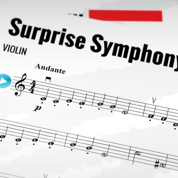 VIOLIN SHEET MUSIC: Haydn's Surprise Symphony (Classical Music)