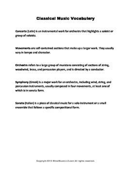 Classical Music Vocabulary