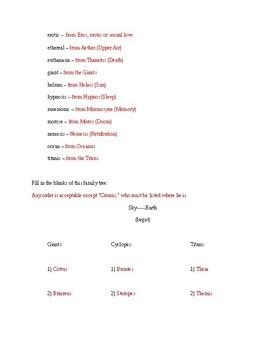 Classical Mythology, Lesson #1 Answer Key