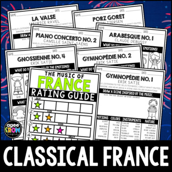 Classical Paris, Music Listening Sheets, Ravel, Debussy, France, French composer