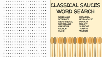 Classical Sauces Word Search; FACS, Culinary Arts, Bellringer, Mother Sauces