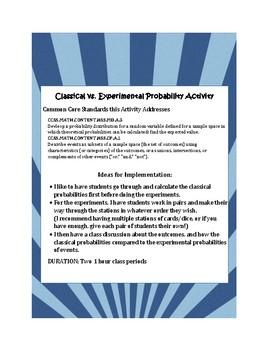 Classical vs. Experimental Probability Activity