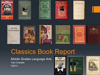 Classics Book Report for Middle School Language Arts