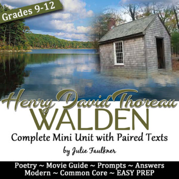 Walden Mini Unit, Paired Text, Great for Earth Day & Transcendentalism