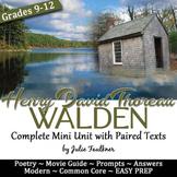 Transcendentalism Thoreau's Walden Complete Unit Guide