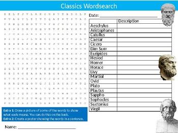 Classics Wordsearch Puzzle Sheet Starter Activity Keywords English Literature