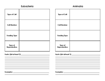 Classification 6 Kingdoms Booklet