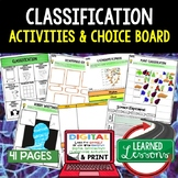 Classification Activities Choice Board, Digital Graphic Or