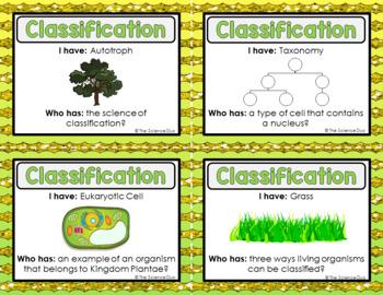 Classification  Activity - I Have, Who Has?