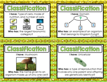 Classification  Activity - I Have, Who Has?