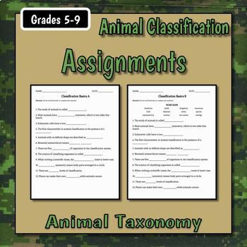 Classification Basics Teacher Notes and Assignment