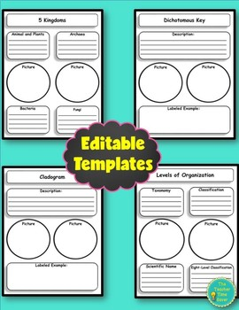 Classification Booklet Project (directions, rubric, and editable template)