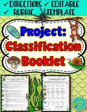 Classification Booklet Project (directions, rubric, and ed