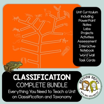 Classification Complete Bundle - PowerPoint Unit, INB, Task Cards, Word Wall