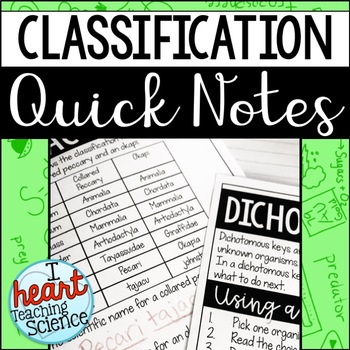 Classification Dichotomous Key Interactive Notebook Note Activity