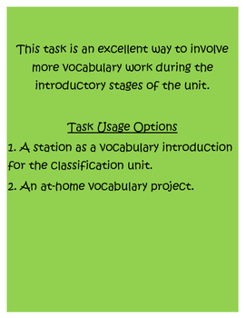 Classification Dictionary Task