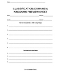 Classification - Domains & Kingdoms Preview Sheet