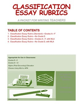 Classification Essay Rubric Packet (for Writing in All Subjects)