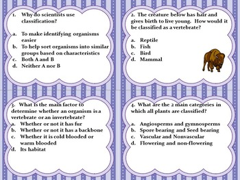 Classification, Heredity, & Genetics Task Cards with QR Codes