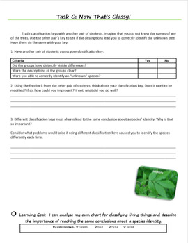 Classification Key with Leaves (Diversity of Life Activity 2)
