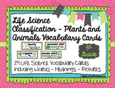 Classification Life Science Vocabulary Cards with pictures and meanings