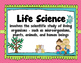 Classification Life Science Vocabulary Cards with pictures