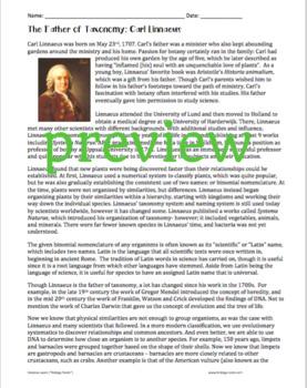 Classification- Linnaeus Biography Close Reading