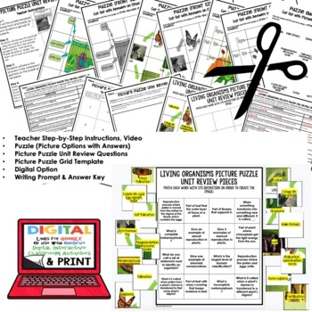 Classification, Plants, Life Cycles Picture Puzzle Study Guide Test Prep