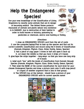 Classification-Endangered Species FOLDABLE Project-Domain, Kingdom, . . .Species