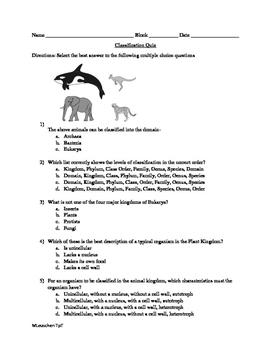 Classification Quiz